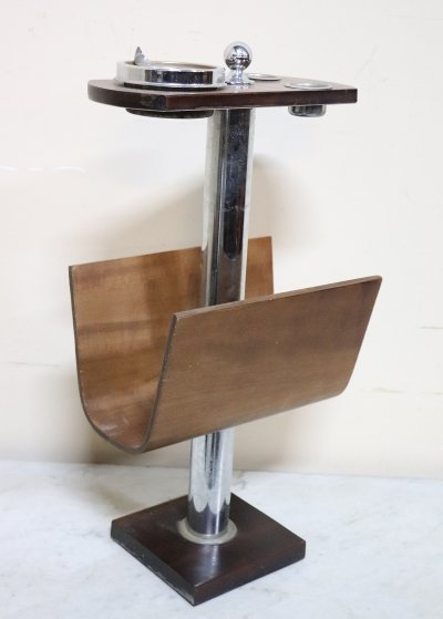 Italian Design Magazine Rack with Ashtray, 1970s