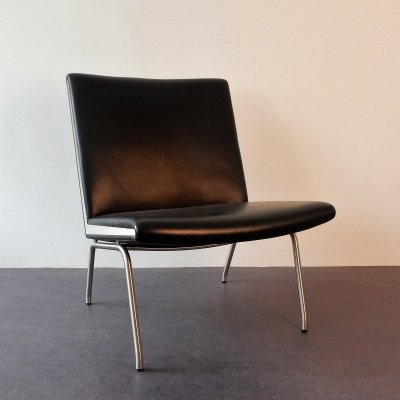 Black faux leather Airport chair by Hans Wegner for AP Stolen