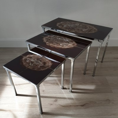 Handpainted ceramic nesting tables by Belarti, 1960s