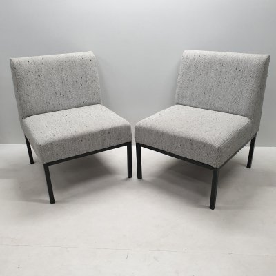 Vintage set of woolen lounge chairs with metal frame, 1970s