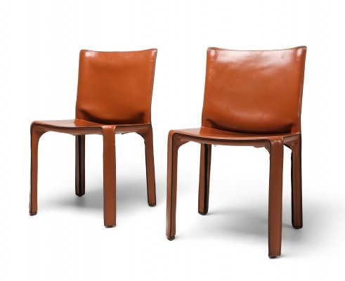 Mario Bellini's CAB Chair in Cognac Leather for Cassina, 1970s