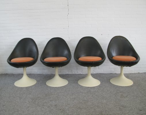 Four Space Age Swivel Stools with Tulip Foot, 1960s