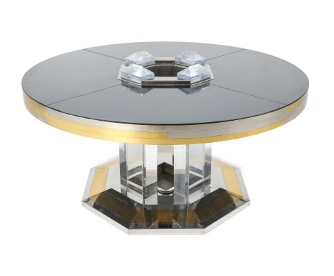 Sandro Petti for Maison Jansen Chrome & Brass Round Dining Table, 1970s