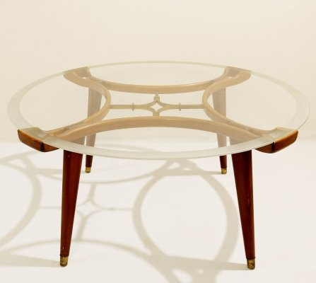 Wood & Brass Coffee Table with Circular Glass Top