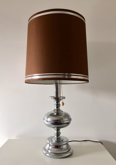 Midcentury Italian XL Chrome Table Lamp with Shade, 1970s