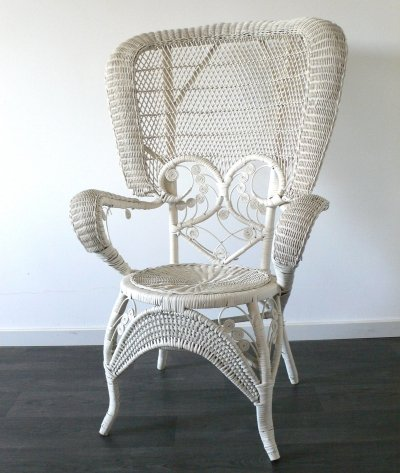 Wicker Peacock Chair in White, 1970's