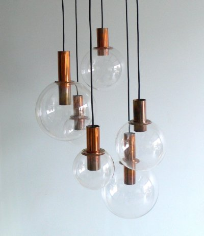 Copper & Glass Chandelier by Raak, 1970's