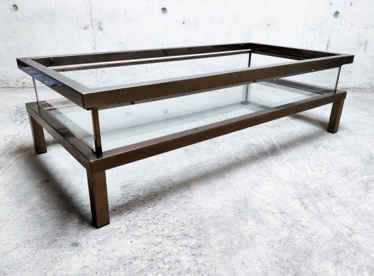 Vintage copper sliding top coffee table by Maison Jansen, 1970s