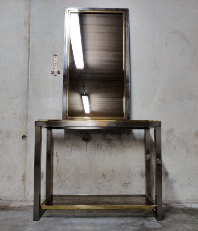 Brass & chrome console table with mirror, 1970s