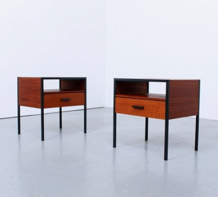 Pair of 'Carelle' teak & metal nightstands by Auping, 1960s
