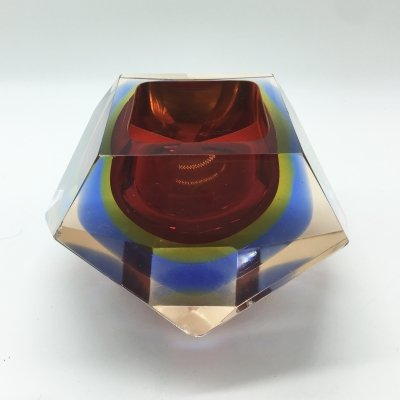 Flavio Poli for Seguso Sommerso Murano Glass Ashtray, 1970's