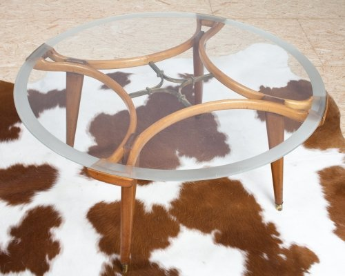 Round Art deco glass & oak coffee table by William Watting for Fristho, 1955