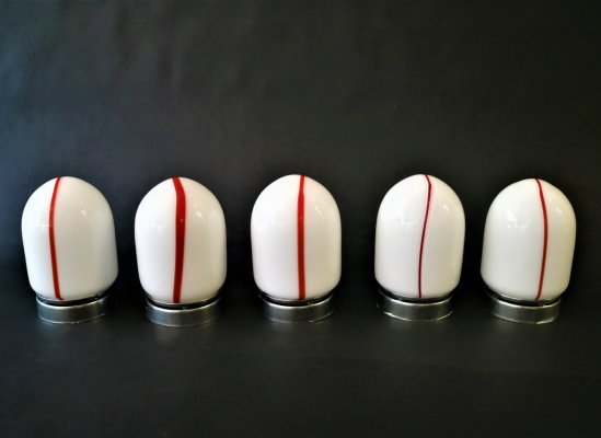 Leucos Murano red & white table lamps