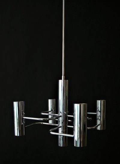 Chrome 5 lightpoint chandelier by Gaetano Sciolari, 1970s
