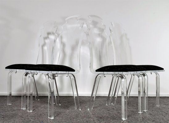Luxurious Perspex Dining Chairs, 1980's
