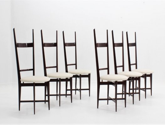 Set of 6 Velvet dining chairs by Sant'Ambrogio & De Berti, 1950s