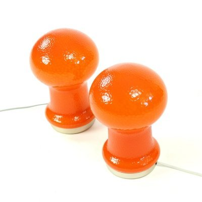 Pair of Opaline Glass Table Lamps in Orange color, Czechoslovakia 1960s