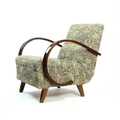 Classical Armchair by Jindrich Halabala with Original Floral Fabric, Czechia 1950s