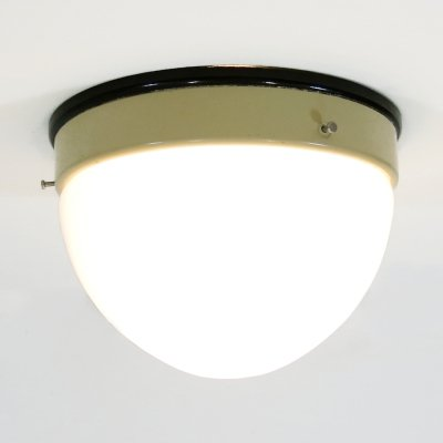 Bauhaus ceiling or wall lamp with opaline glass & bakelite