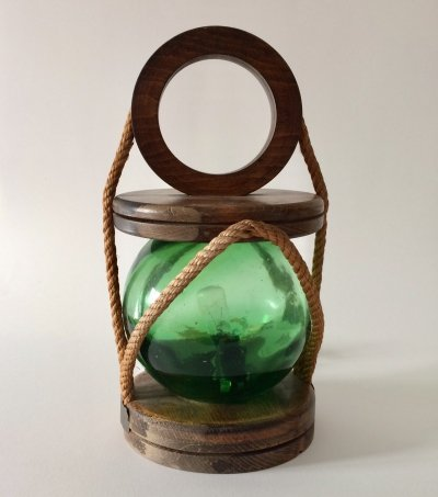 Midcentury Fishermans Lantern with a Green Glass Ball, 1960's