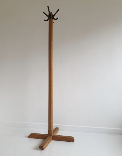 Vintage Solid Beech & Iron Coat Stand