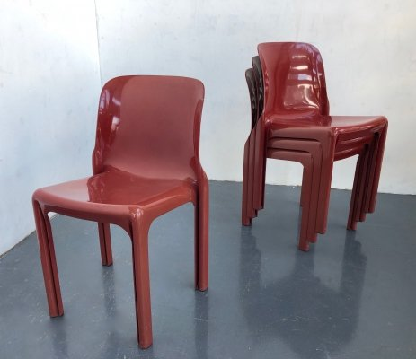 Set of 4 Selena dining chairs by Vico Magistretti for Artemide, 1960s