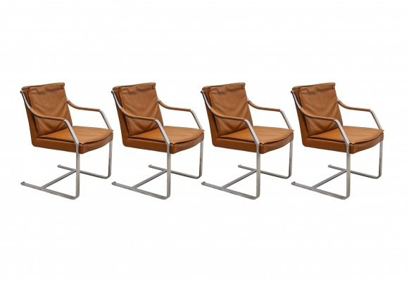 Set of 4 Camel Leather 'Art Collection' Armchairs by Walter Knoll, 1970s