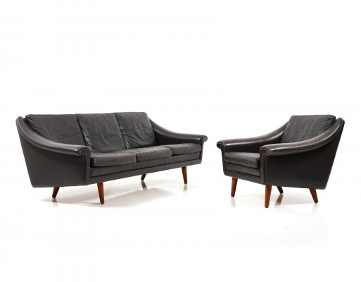 Danish Leather Diplomat Series 3-Seater Sofa & Armchair by Aage Christiansen