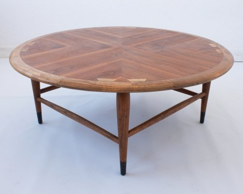 Mid Century Walnut Marquetry Coffee Table by Andre Bus for Lane, c.1960