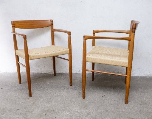 Teak Armchairs with Papercord by H.W. Klein for Bramin