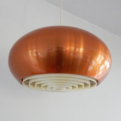 Medio copper pendant lamp by Jo Hammerborg for Fog & Mørup, Denmark 1960's