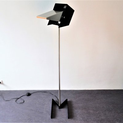 Rare black & metal adjustable floor lamp for Lyfa, 1960's