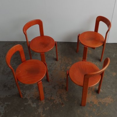Set of 4 stackable chair by Bruno Rey for Dietiker Swiss, 1970s