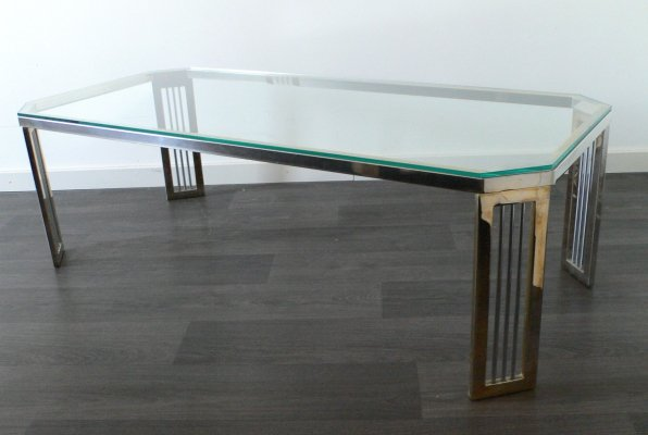 Midcentury Design Hollywood Regency Brass & Glass Coffee Table, 1980's