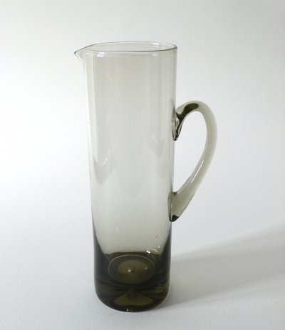 Midcentury Scandinavian Handblown Smoke Glass Pitcher, 1960's