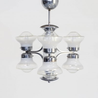 50s Carlo Nason Chandelier with 6 Globes for Mazzega