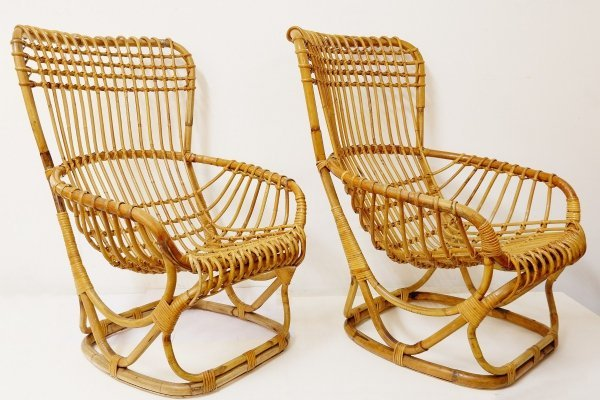 Pair Of Rattan Armchairs, 1960s