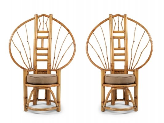 Pair of Bamboo Peacock Chairs, 1970s
