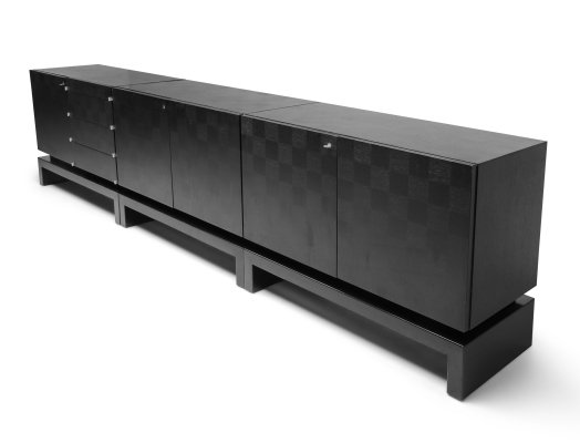 Black Sectional Credenza by De Coene, 1970s