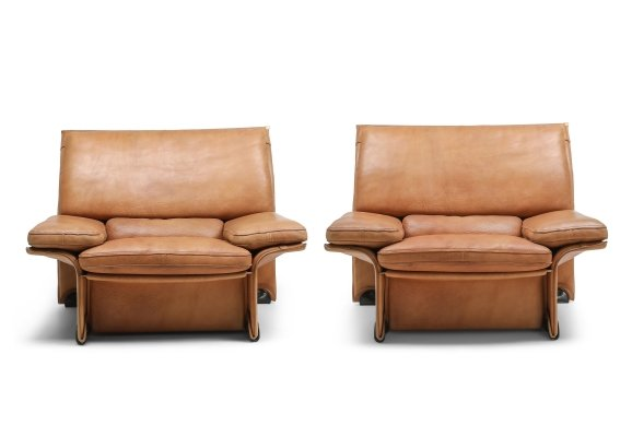 Thick Camel Leather Club Chairs by Titiana Ammannati & Giampiero Vitelli for Brunati, 1970s