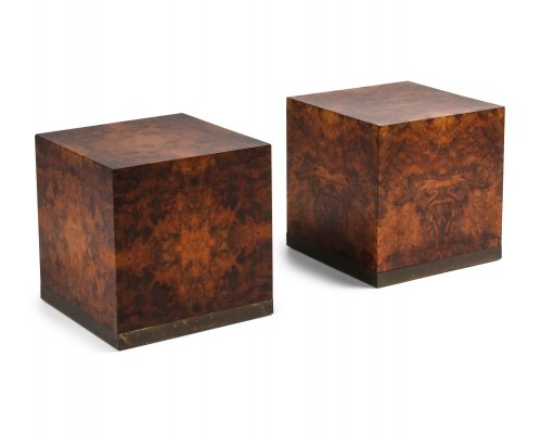 Burl Square Side tables by Jean Claude Mahey, 1970s