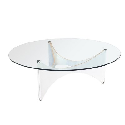 Round Glass TZ75 Coffee Table by Werner Blaser for 't Spectrum, 1960s