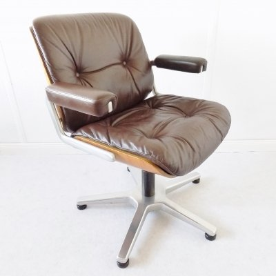 Stoll Giroflex leather office chair by Karl Dittert, 1970s