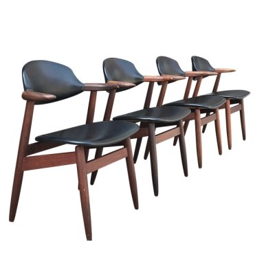 Set of 4 Cowhorn dining chair by Tijsseling for Hulmefa, 1950s