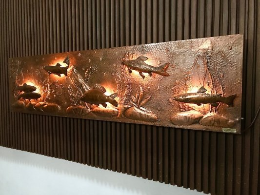 Large Copper Relief Wall Lamp by Kallasch, 1960s