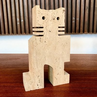 Italian Brutalist Cat Travertine Table Sculpture by Fratelli Mannelli, 1970s