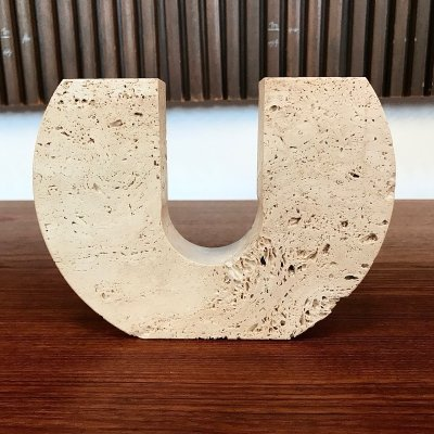 Italian travertine candle holder by Fratelli Mannelli, 1970s