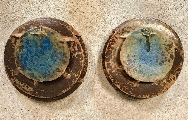 Pair of Large Glazed Ceramic Wall Lights by Horst Seifert, Germany 1985