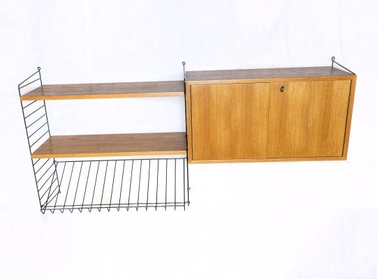 Teak Wall Shelving System by String, 1960s