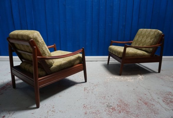 Pair of Unique Vintage Danish Loungers in Green Wool, 1960's